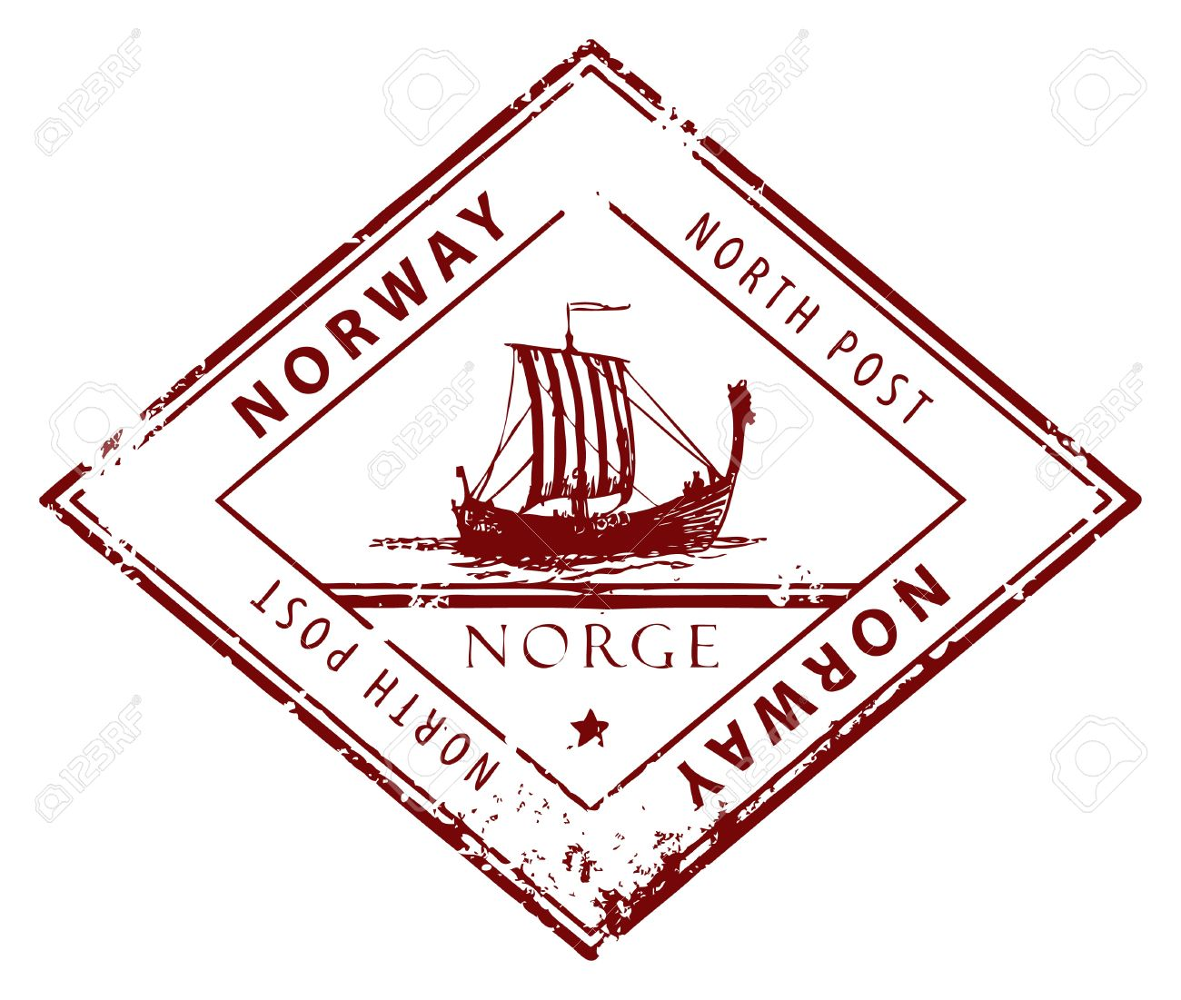 Grunge rubber stamp with words Norway, North Post inside Stock Vector - 14368993