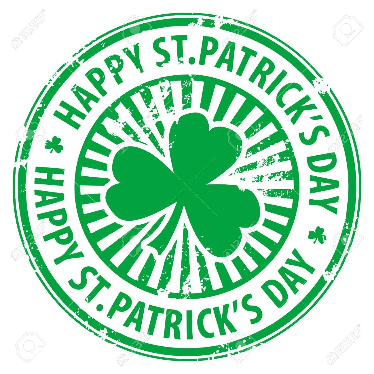 Green grunge rubber stamp with clover and the text Happy St  Patrick s Day written inside Stock Vector - 14369003