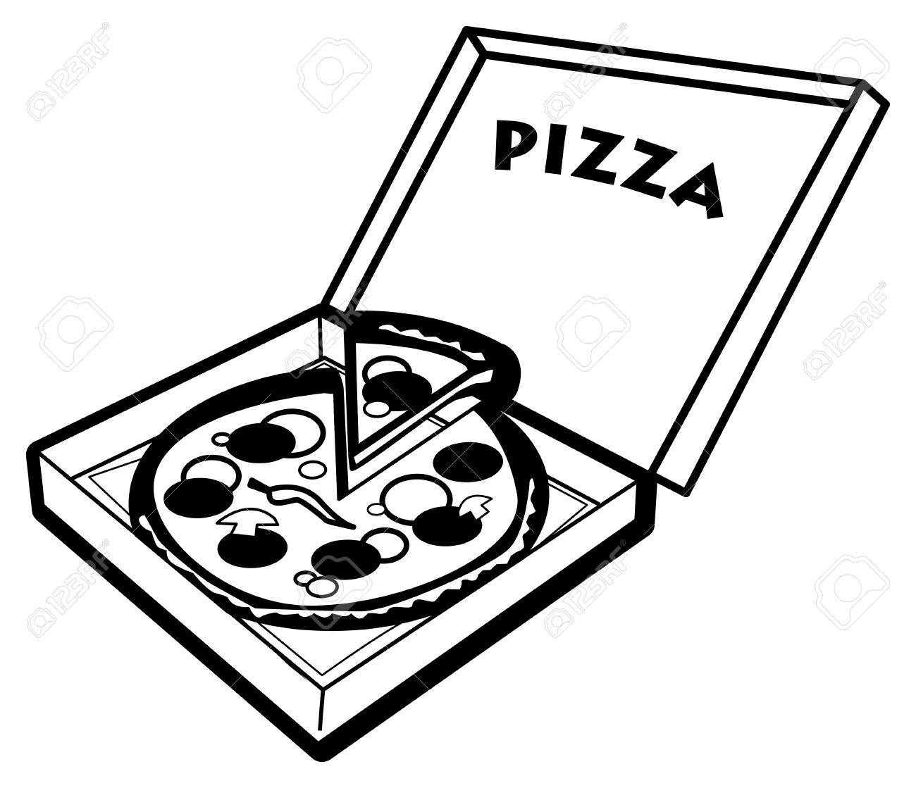 pizza in box royalty free cliparts vectors and stock illustration rh 123rf com pizza box clipart free