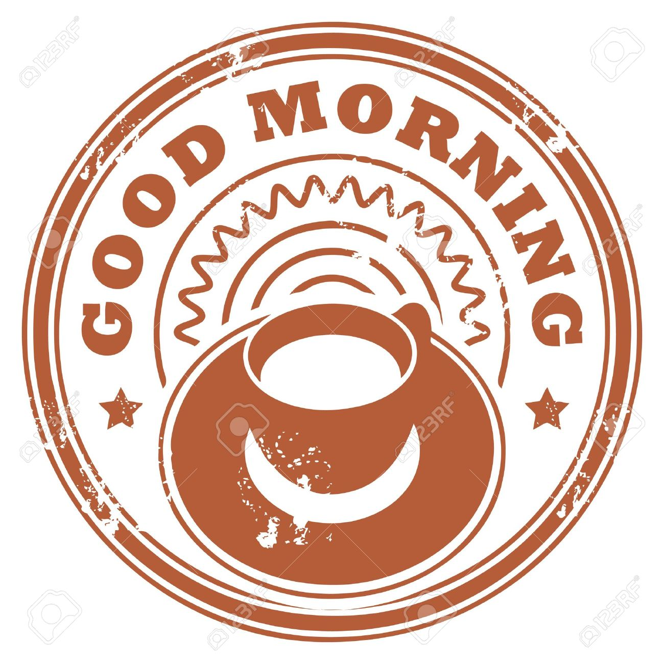 Grunge stamp with coffee cup and the text Good Morning written inside the stamp Stock Vector - 14410719