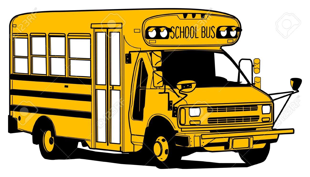 古い学校バス手描きイラスト ロイヤリティフリークリップアート
