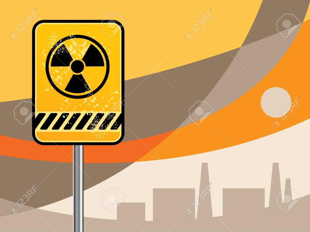 Nuclear danger warning background Stock Vector - 14513587