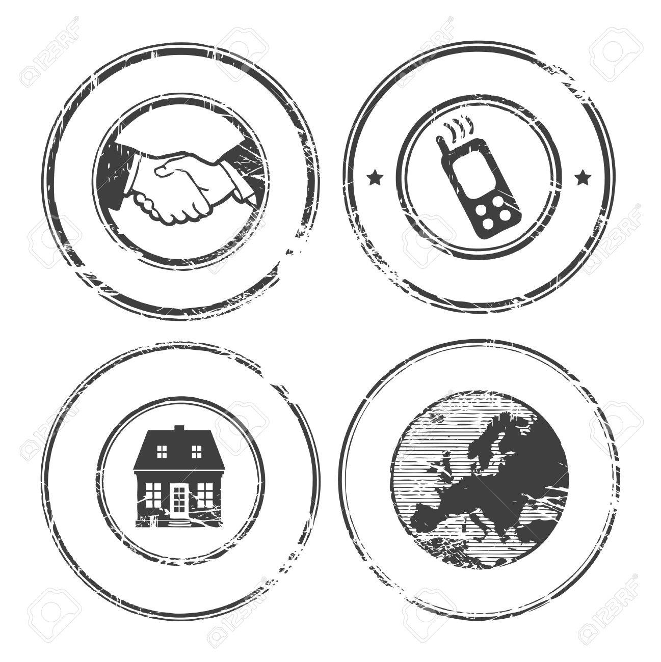 Abstract empty grunge rubber stamp set with space for text Stock Vector - 14540008