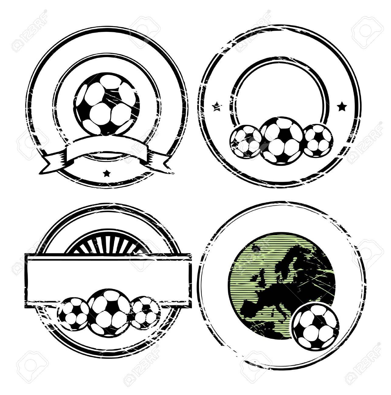 Abstract empty grunge rubber stamp set with space for text, soccer theme Stock Vector - 14561958