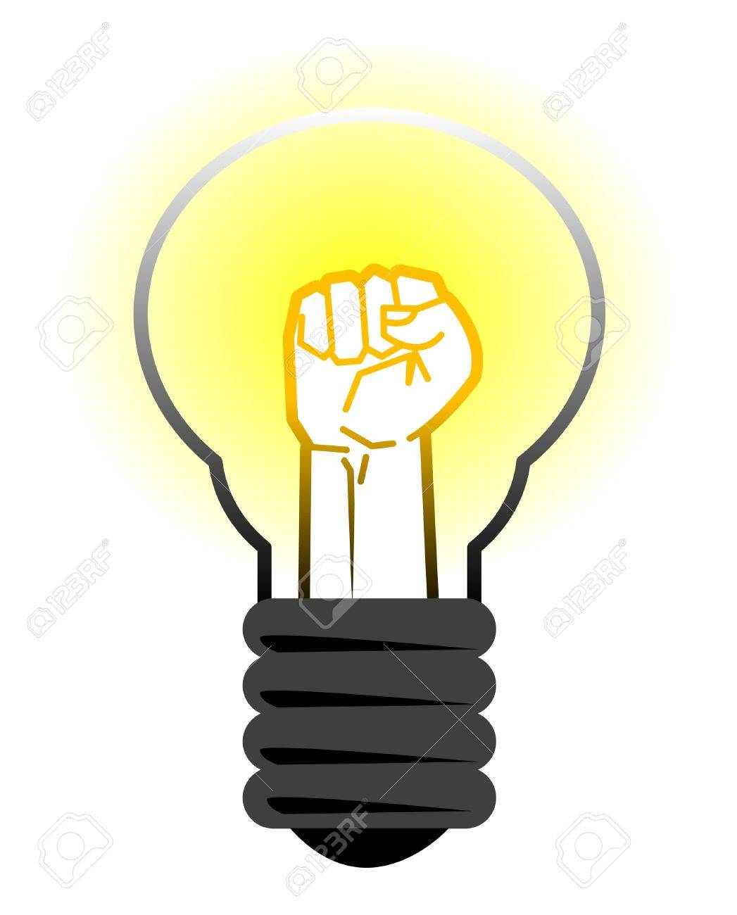 Fist in light bulb Stock Vector - 14600088