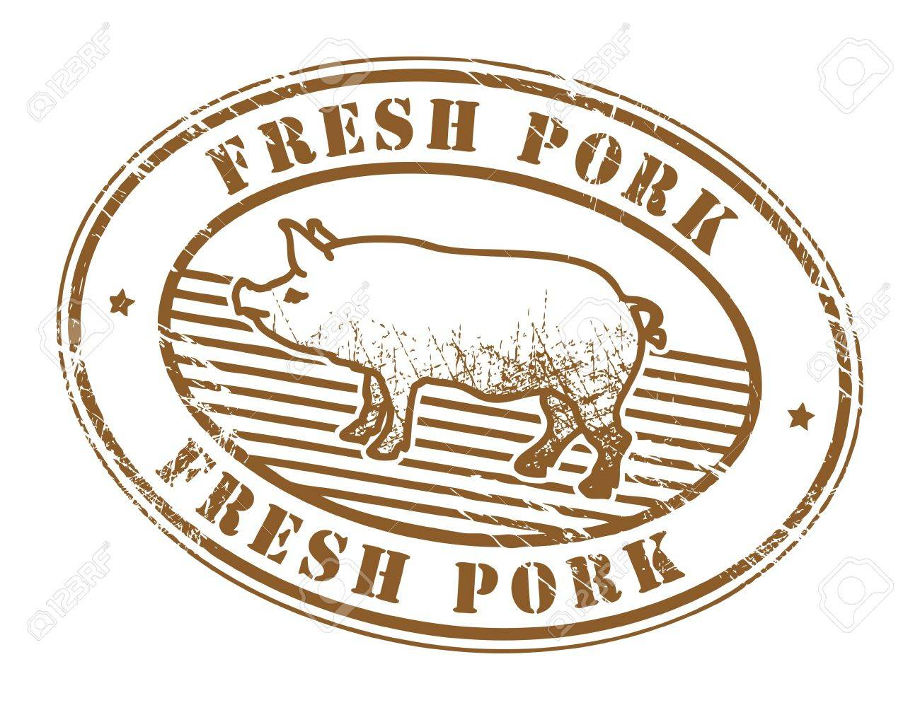 Grunge rubber stamp with pig silhouette and the text fresh pork written inside Stock Vector - 14624800