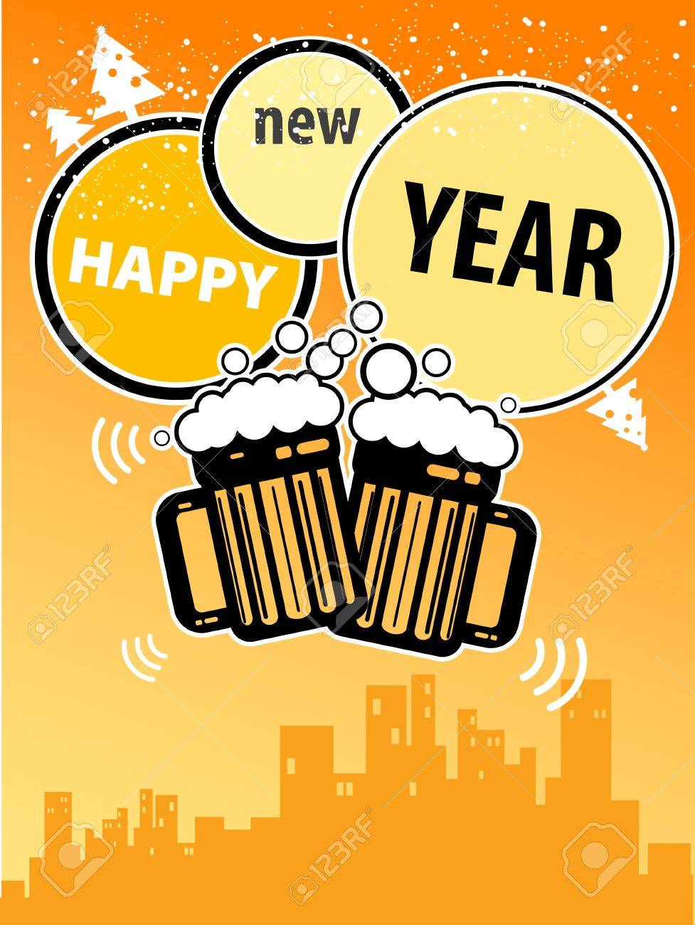 happy new year greeting card with beer mugs stock vector 14625027