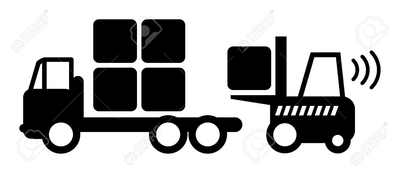 Icon, fork lift truck at work Stock Vector - 14619242