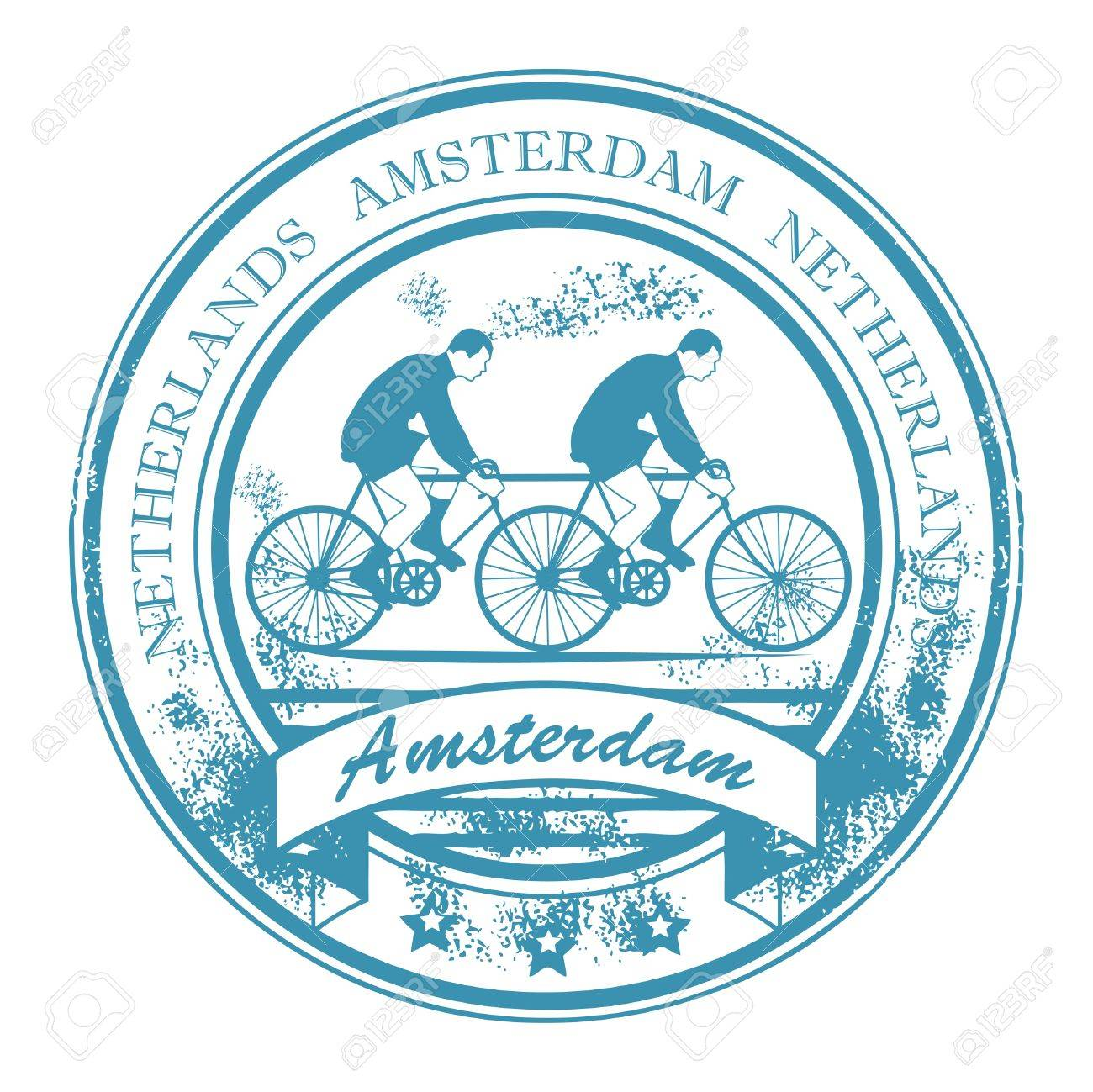 Grunge rubber stamp with bicycle and the words Amsterdam, Netherlands inside Stock Vector - 14937088