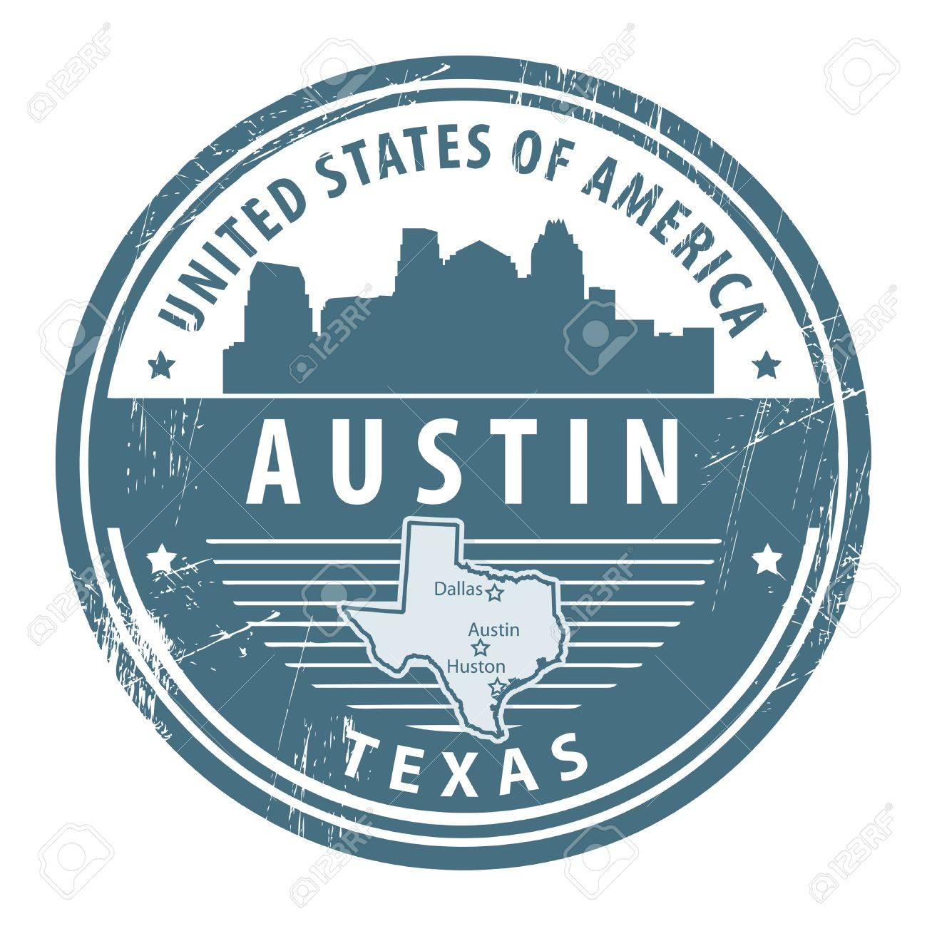 Grunge rubber stamp with name of Texas, Austin Stock Vector - 14937060