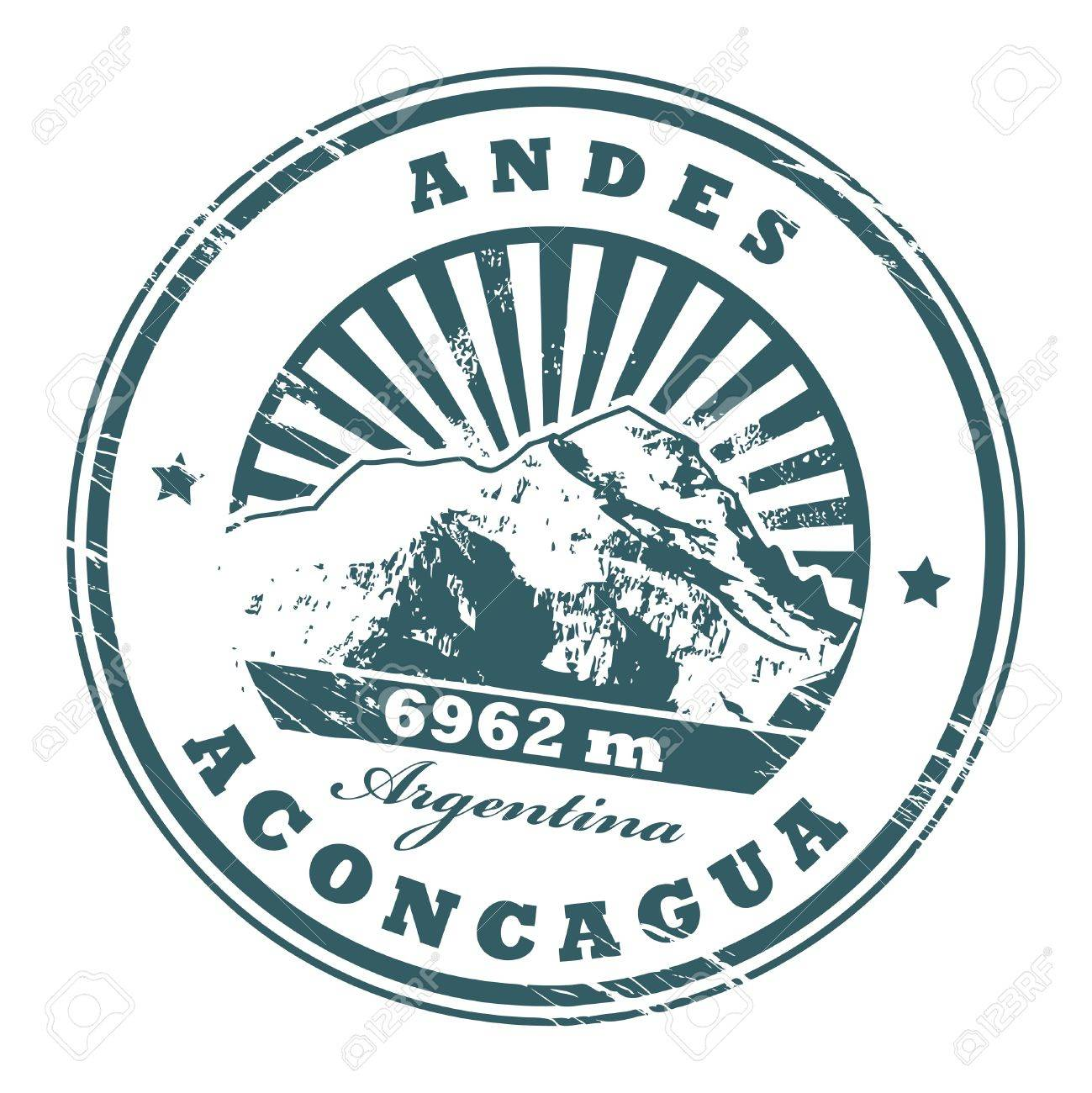 Grunge rubber stamp with the Mount Aconcagua, highest mountain in the Americas Stock Vector - 14976063