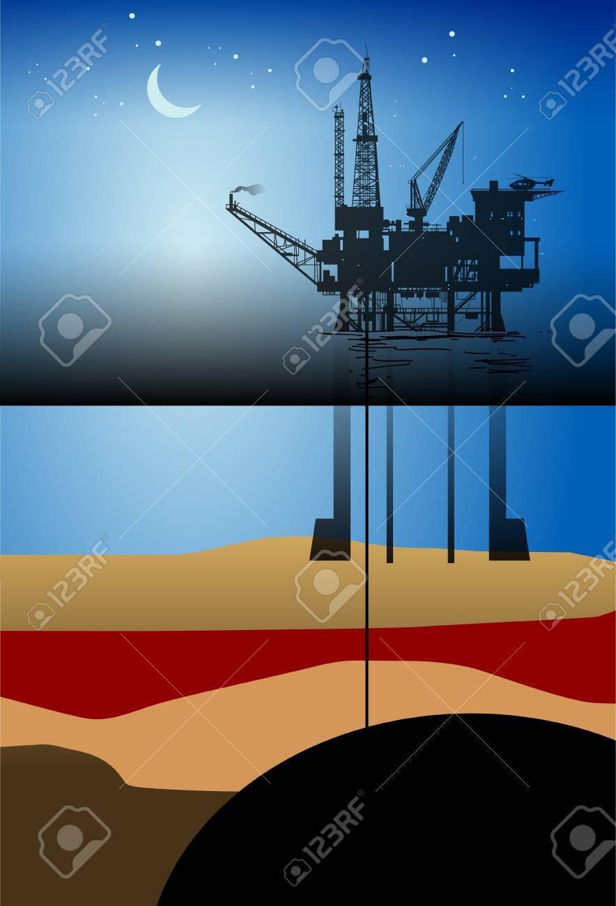 Sea Oil Rig Drilling Platform Stock Vector - 14976086