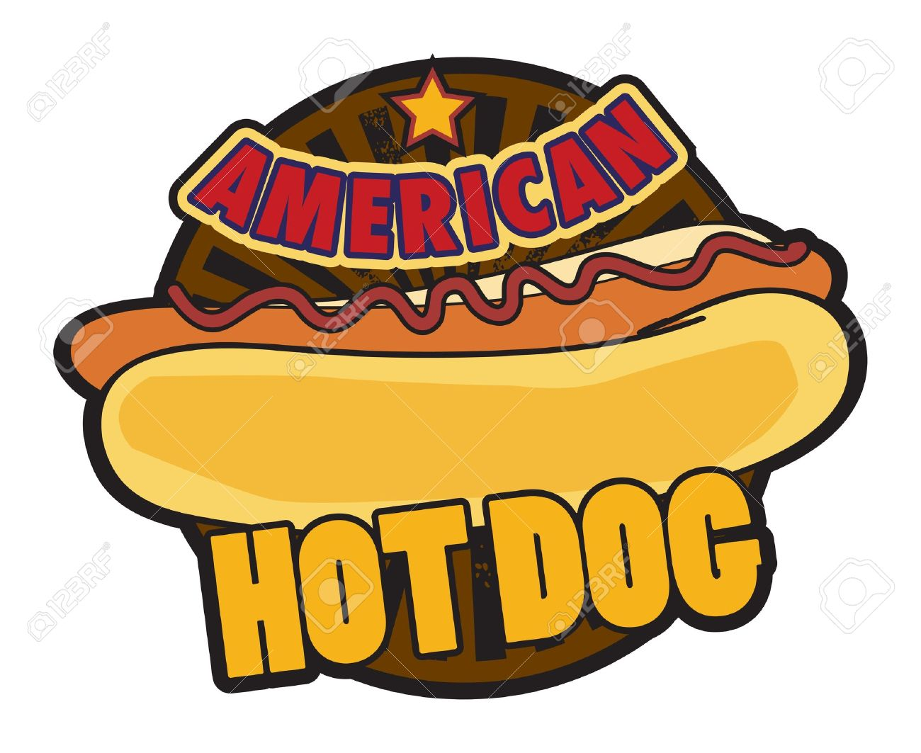 Label American Hot Dog Stock Vector - 15068005