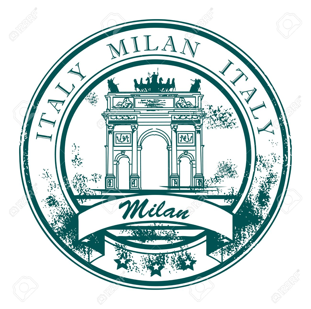 Grunge rubber stamp with The Peace Arch and the words Milan, Italy inside Stock Vector - 15271289