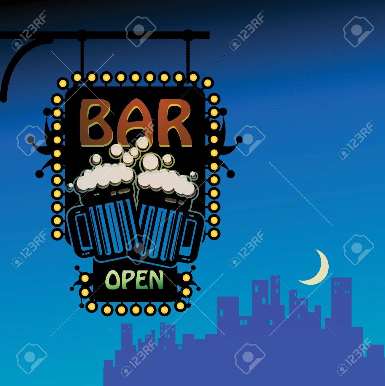 Bar open Stock Vector - 15233834
