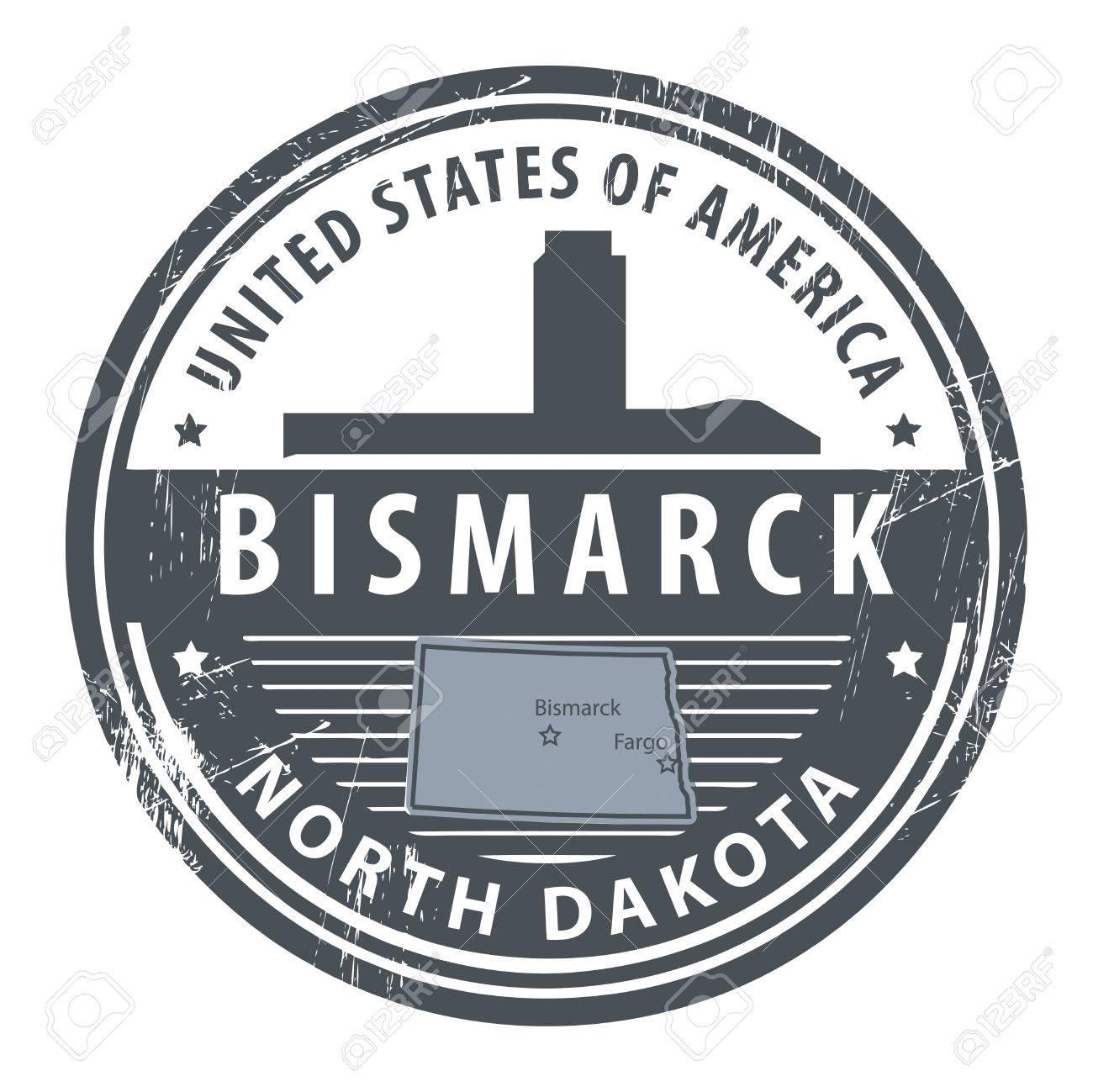 Grunge Rubber Stamp With Name Of North Dakota Bismarck Stock Vector