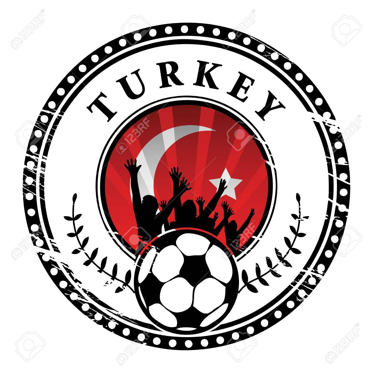 Grunge stamp with football fans and name Turkey Stock Vector - 15314076