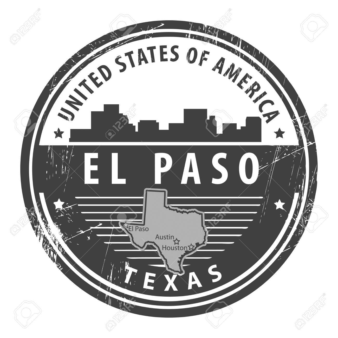 Grunge rubber stamp with name of Texas, El Paso Stock Vector - 15365080