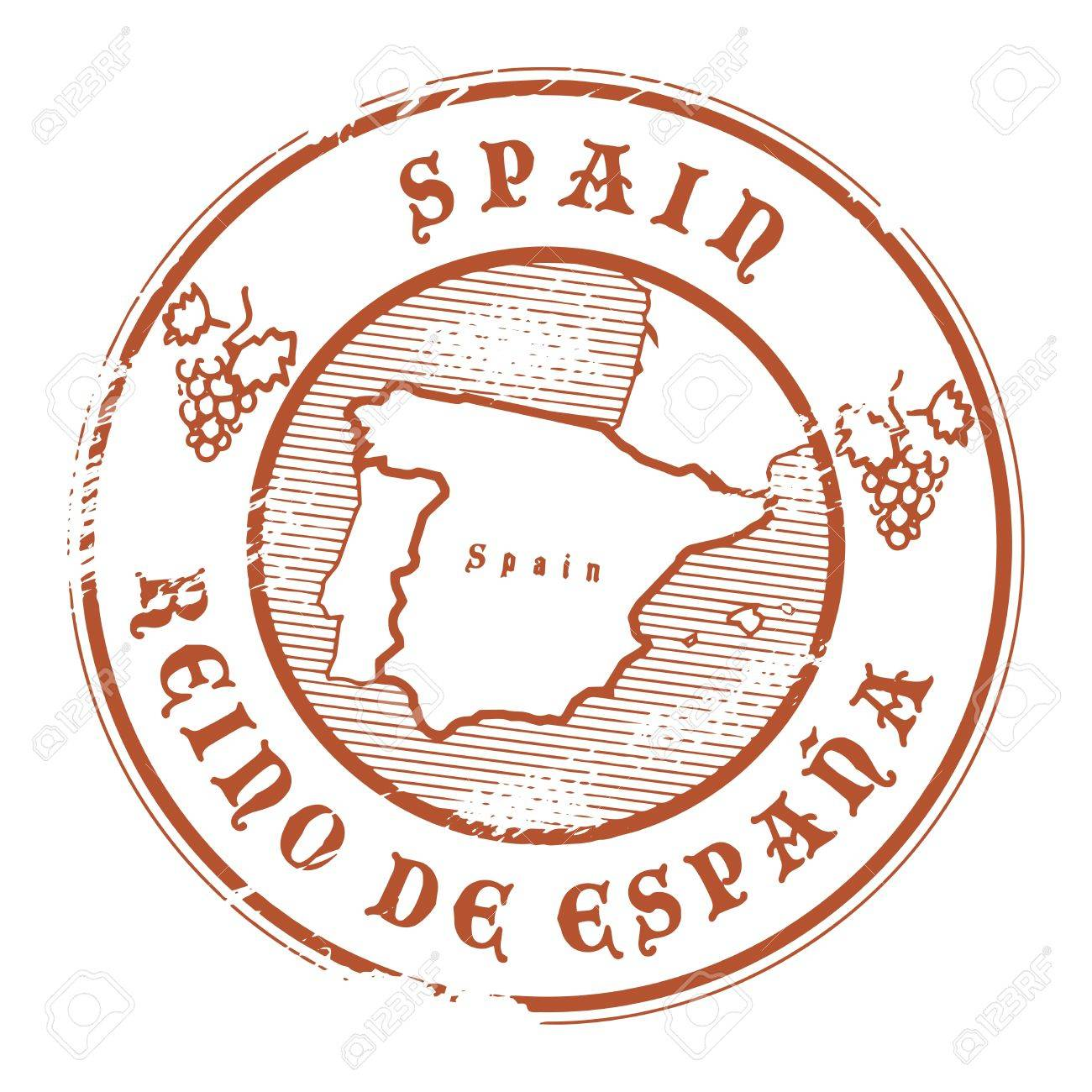 Grunge rubber stamp with the name and map of Spain Stock Vector - 15365088