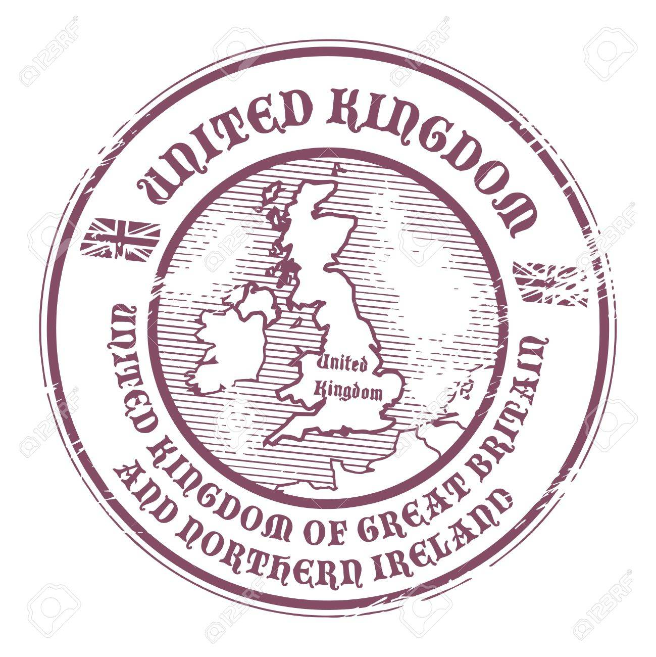Grunge rubber stamp with the name and map of United Kingdom Stock Vector - 15676554