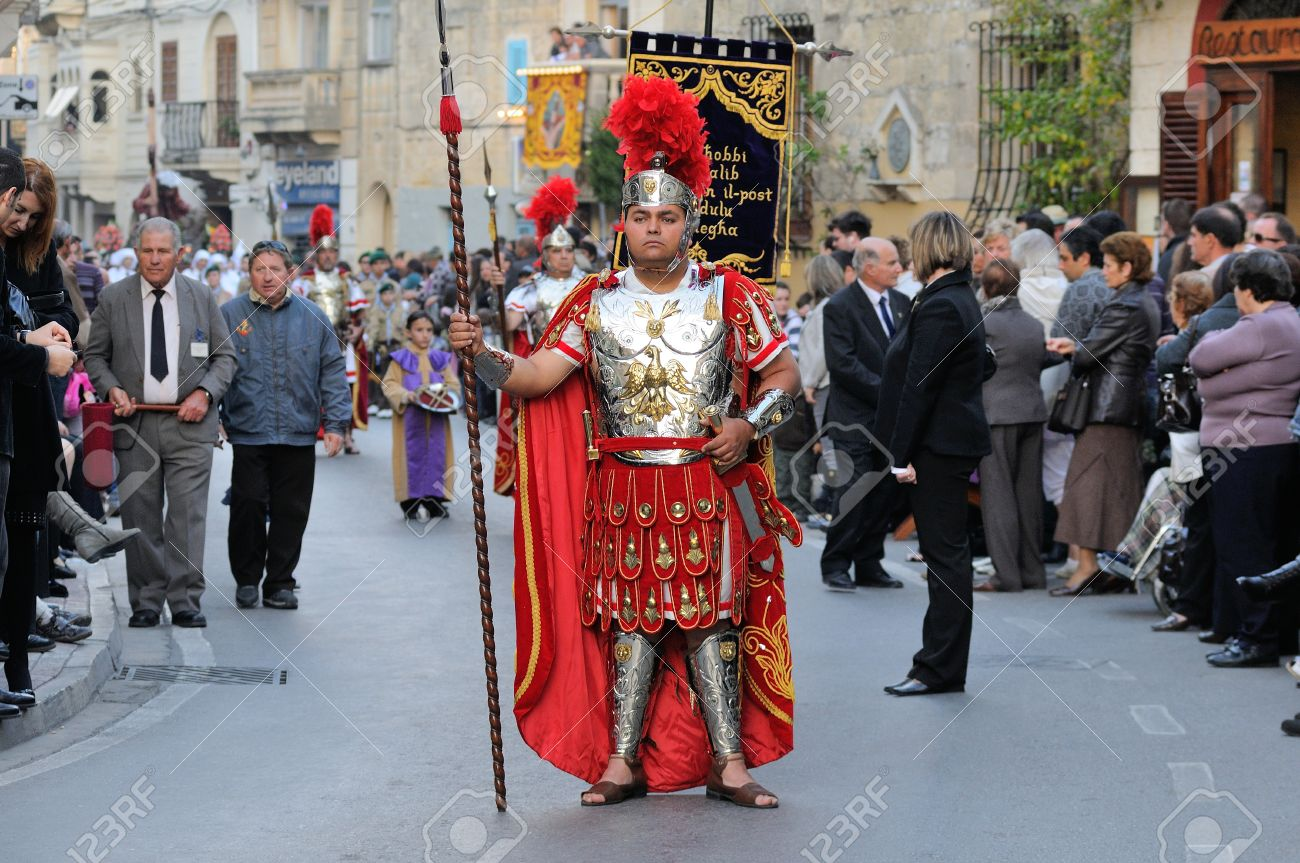 MOSTA, MALTA - APR 22 - Roman centurion during in the Good Friday procession in the village of Mosta in Malta April 22, 2011 Stock Photo - 15877104