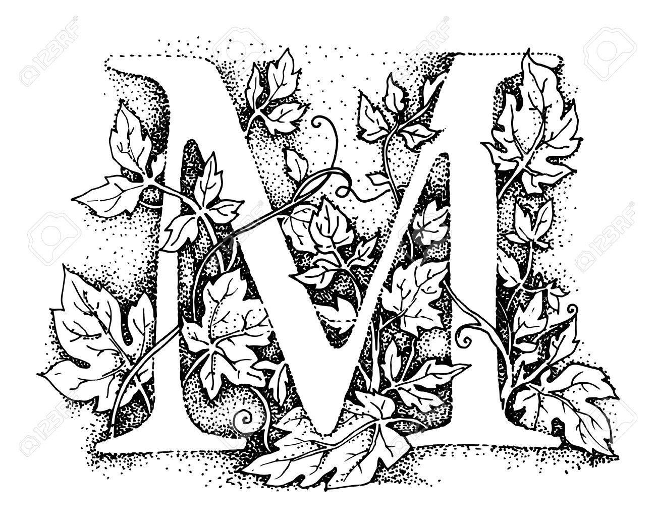 Letter M Alphabet Symbol Hand Draw Illustration Royalty Free