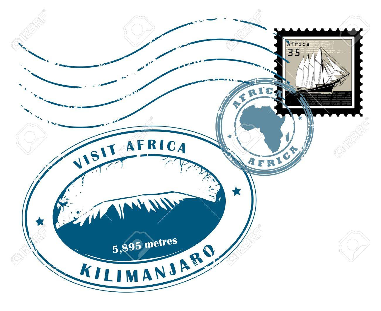 Set of Africa post stamp symbols Stock Vector - 16561161