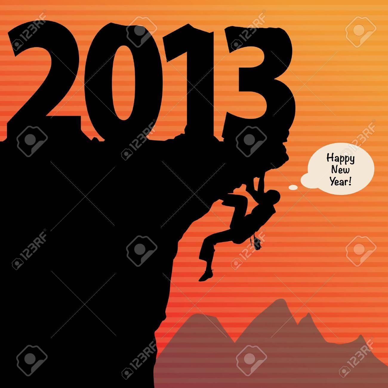 new year rock climbing Stock Vector - 16656887