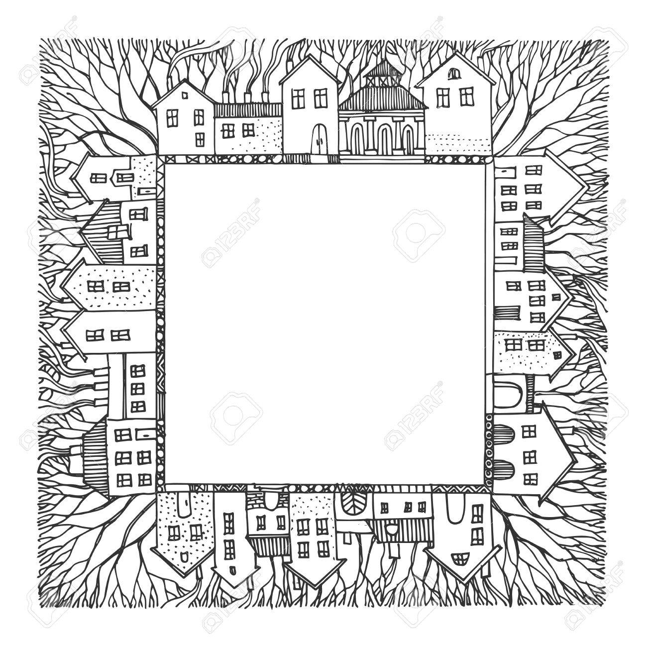cartoon hand drawing houses frame stock vector 16656916