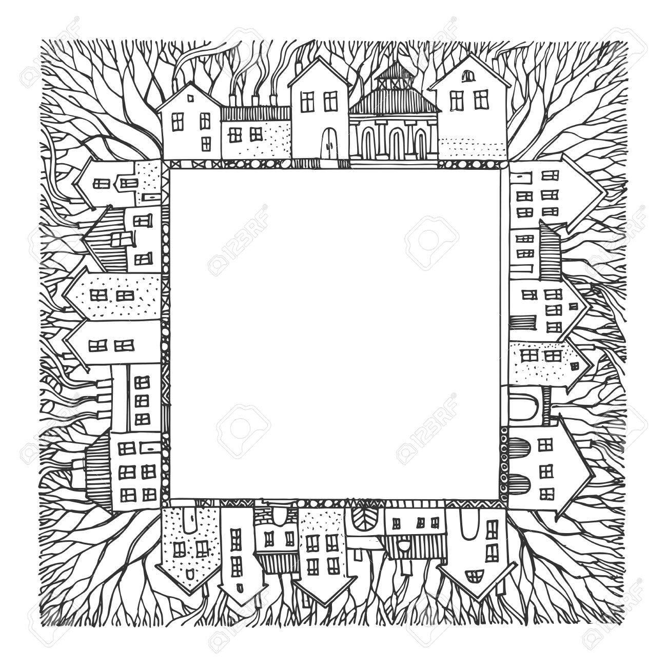cartoon hand drawing houses frame royalty free cliparts vectors