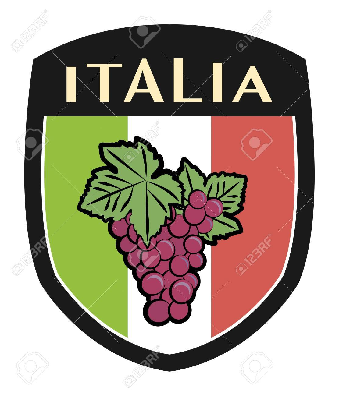 italian label flag with grapes Stock Vector - 16656897