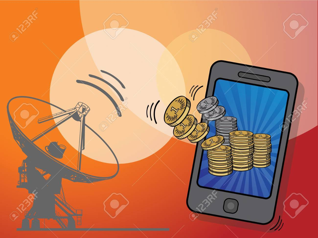 Gold coins flying in to mobile phone Stock Vector - 16811578