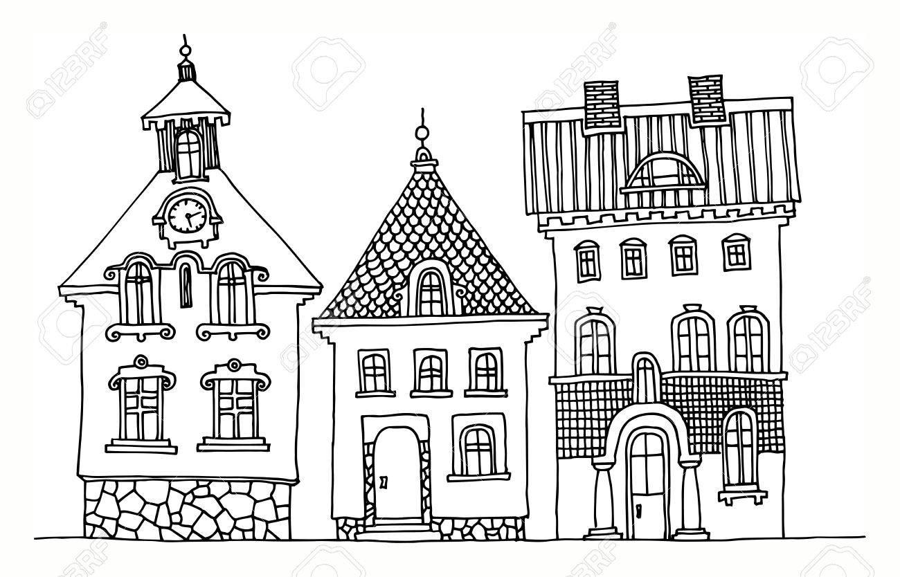 cartoon hand drawing houses royalty free cliparts vectors and