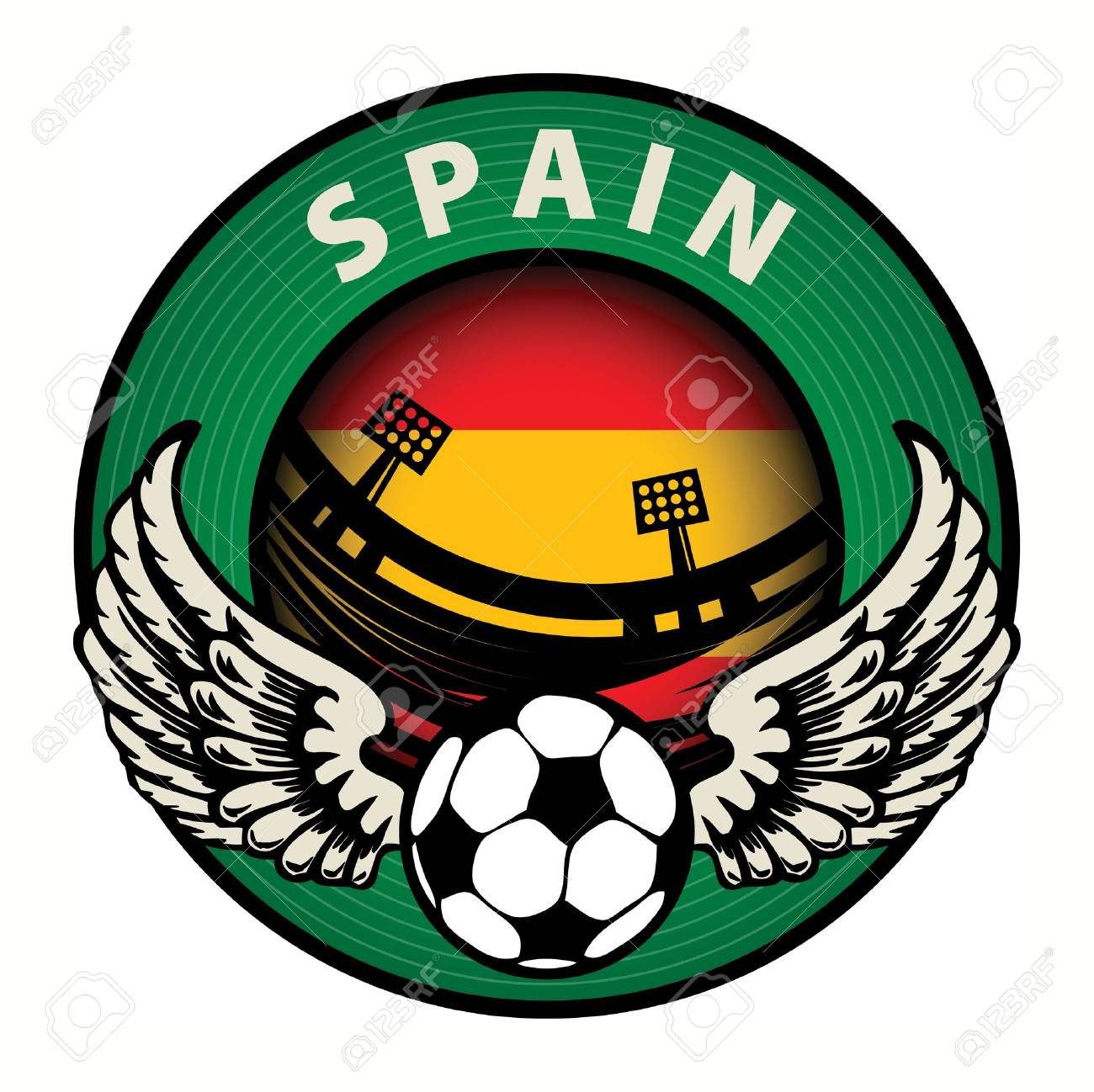 Label with football and name Spain Stock Vector - 17074805