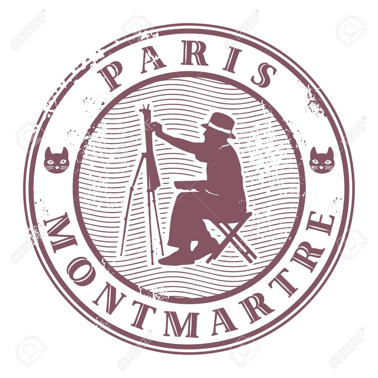 Stamp with painter silhouette and the word Paris, Montmartre Stock Vector - 17110755