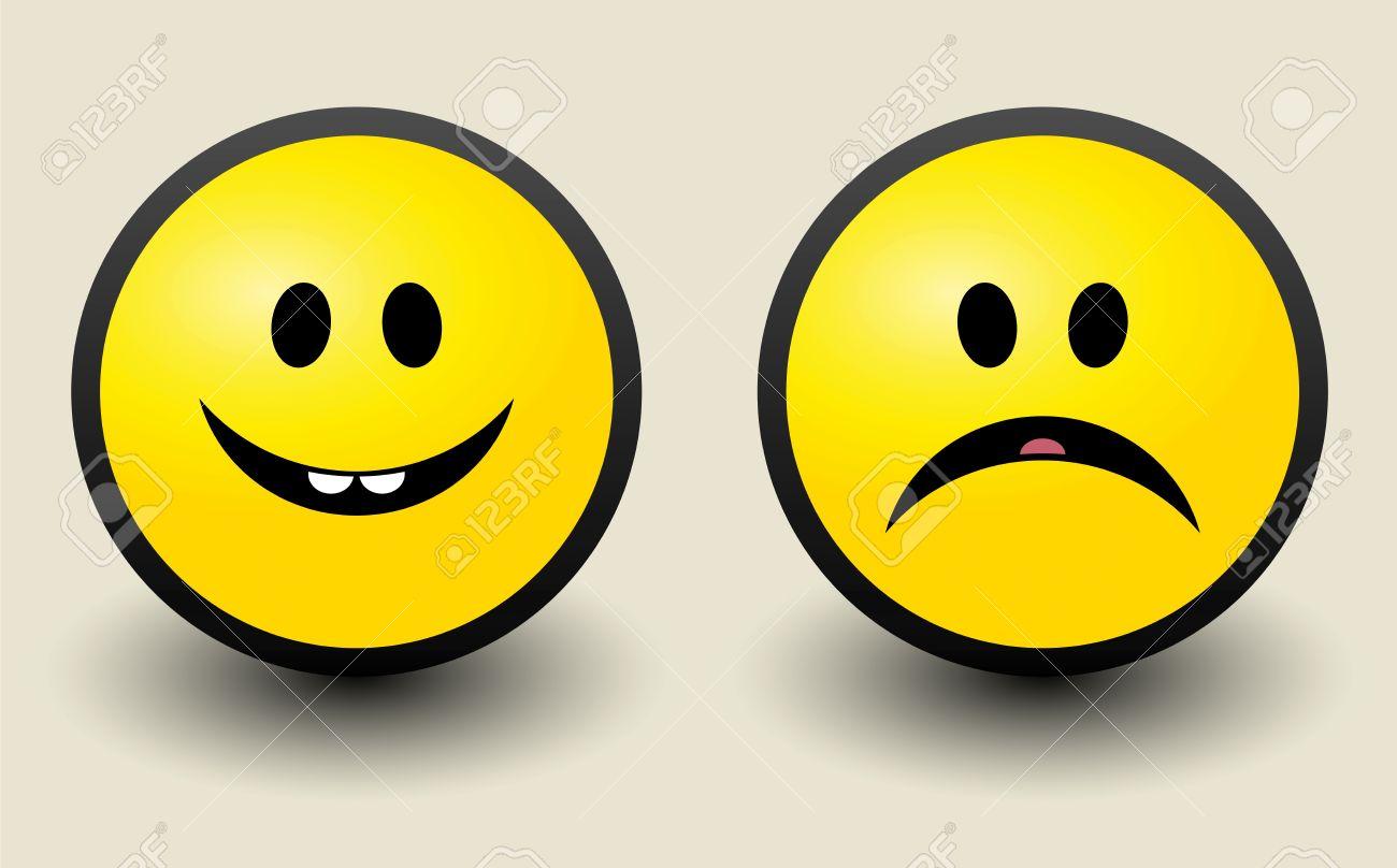Happy and Sad smiley icon Stock Vector - 17110749
