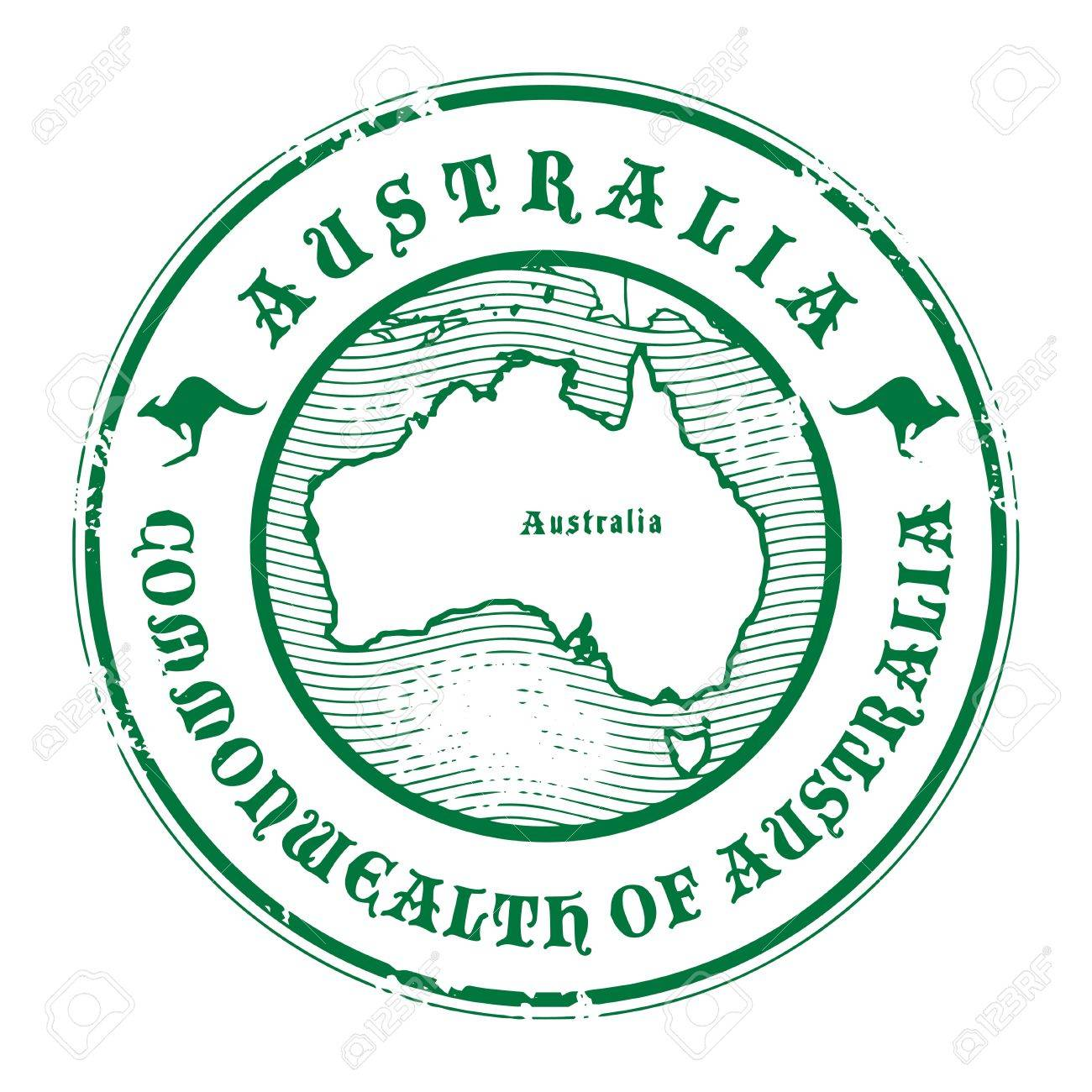 Grunge Rubber Stamp With The Name And Map Of Australia Stock Vector