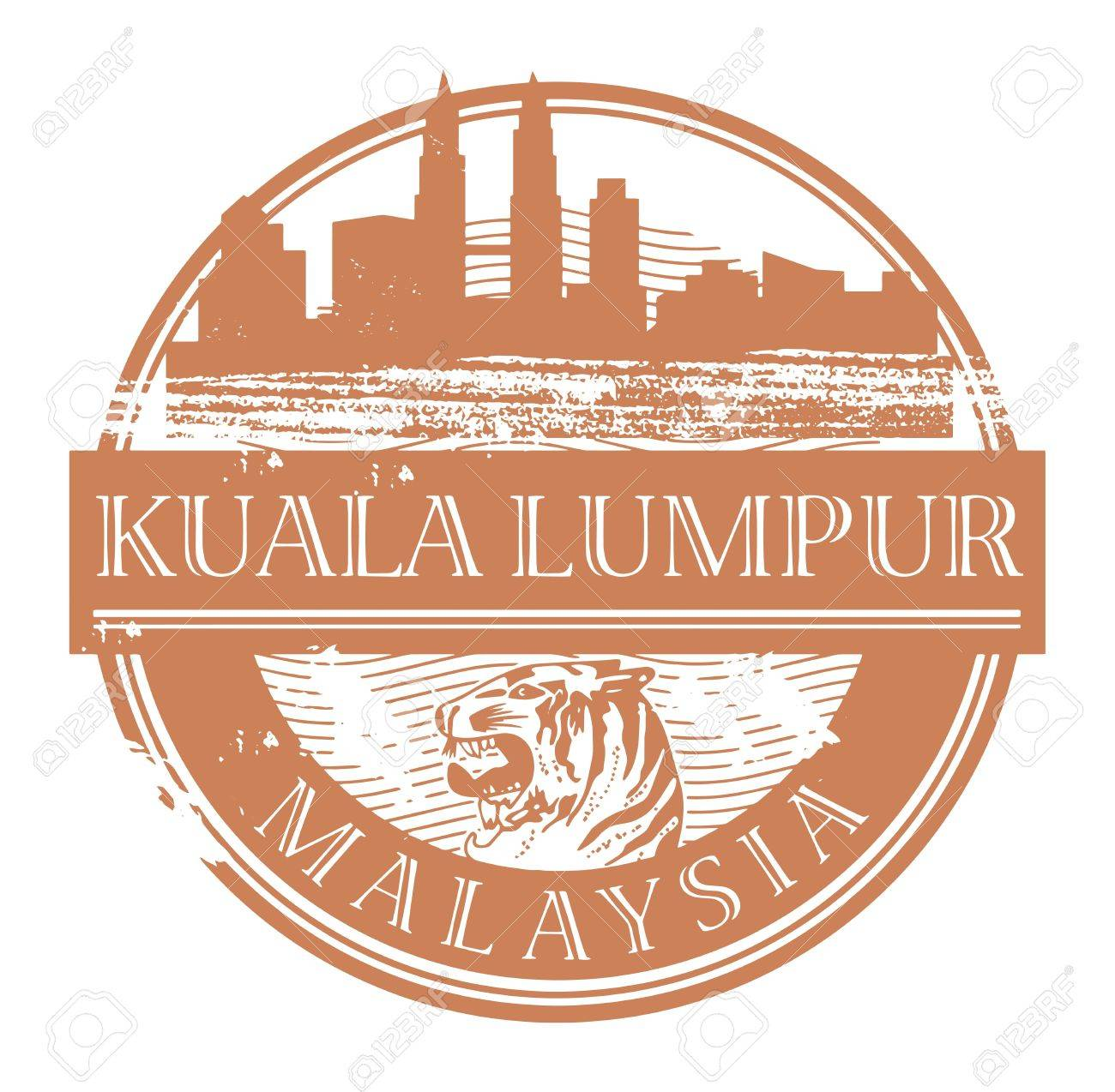 Grunge rubber stamp with the name of Kuala Lumpur, Malaysia written inside the stamp Stock Vector - 17215635