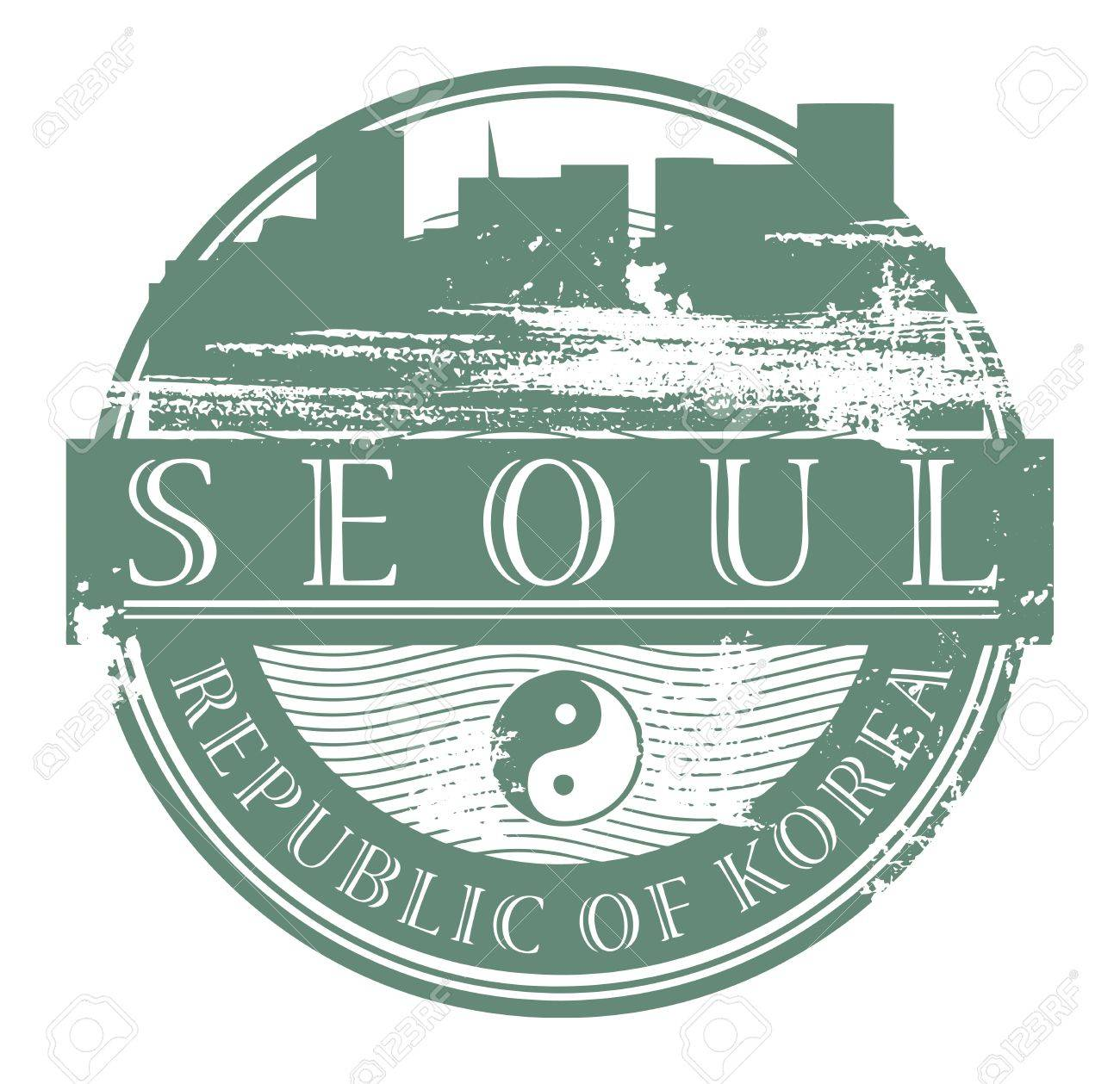 Grunge rubber stamp with the name of Seoul, South Korea written inside the stamp Stock Vector - 17215613