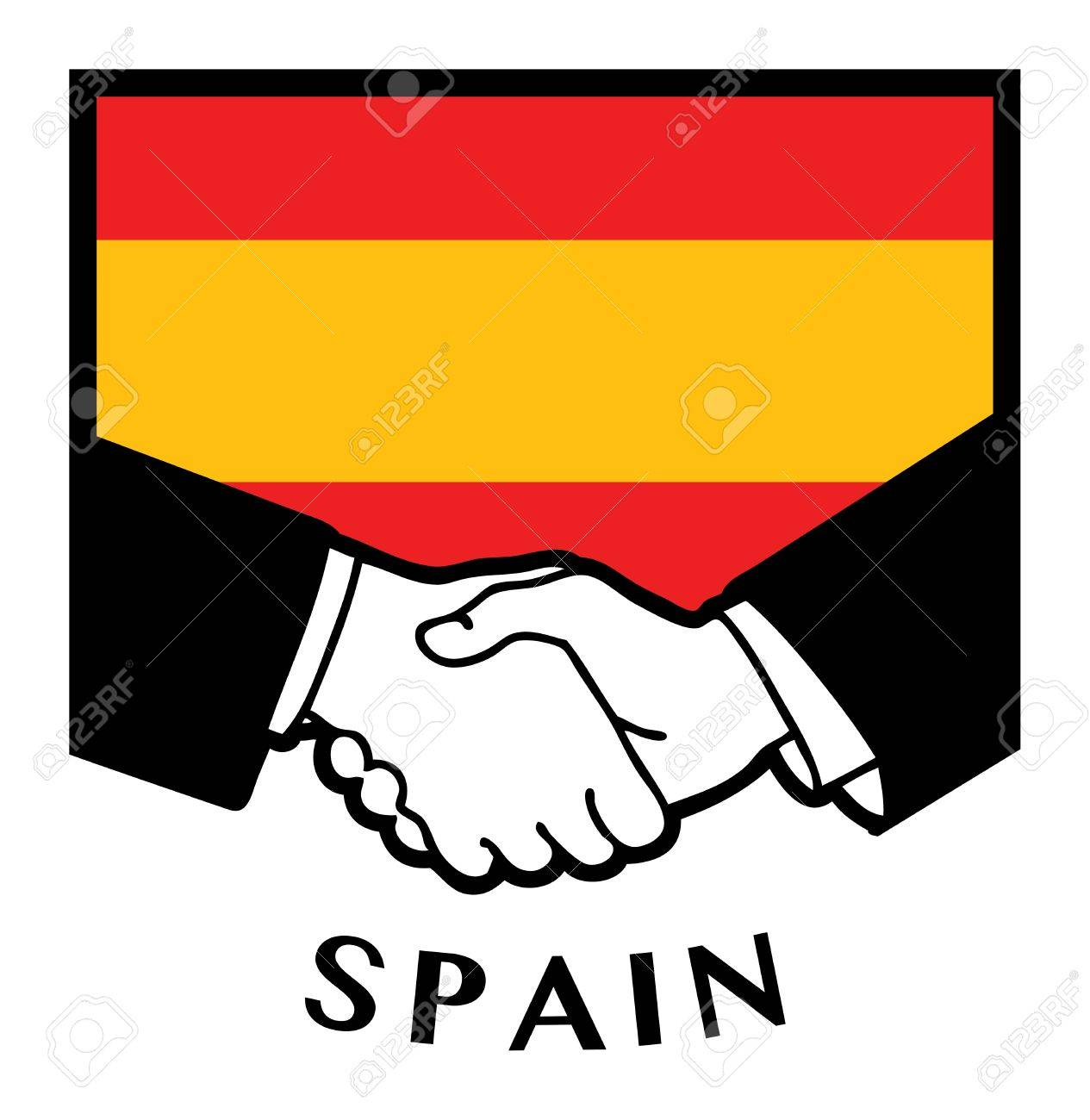 Spain flag and business handshake Stock Vector - 17348040