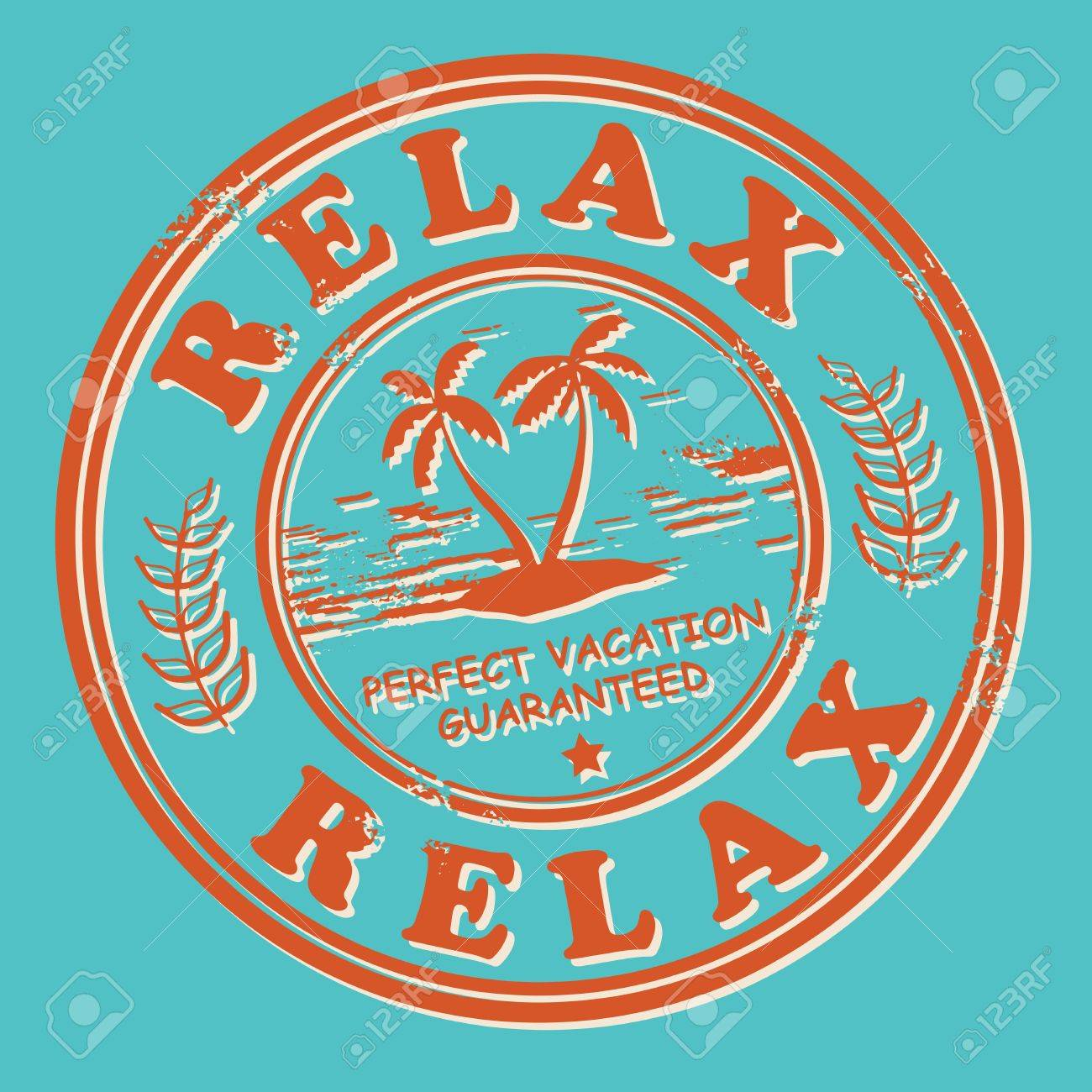 grunge stamp with the tropical island and words relax perfect