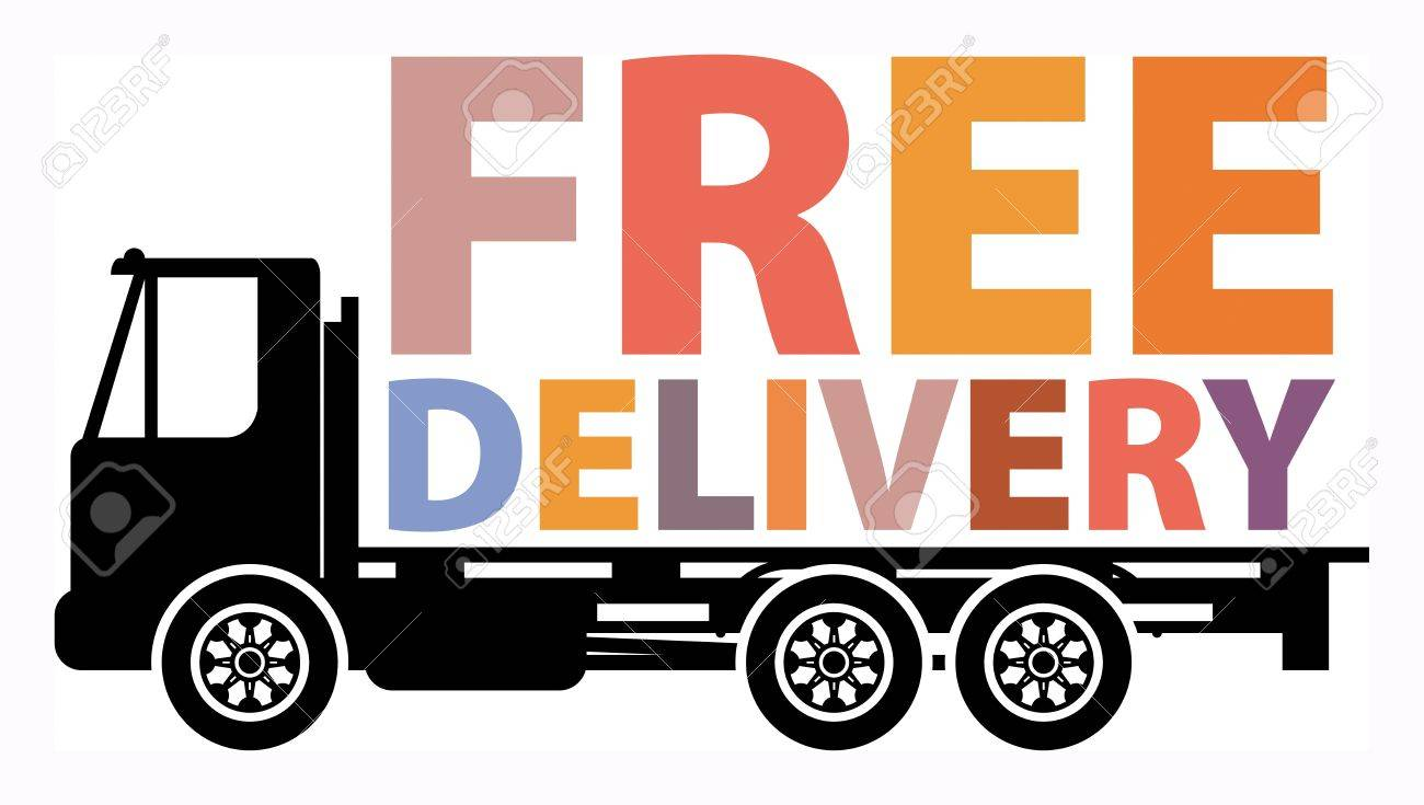 Delivery truck with text free delivery Stock Vector - 18088431
