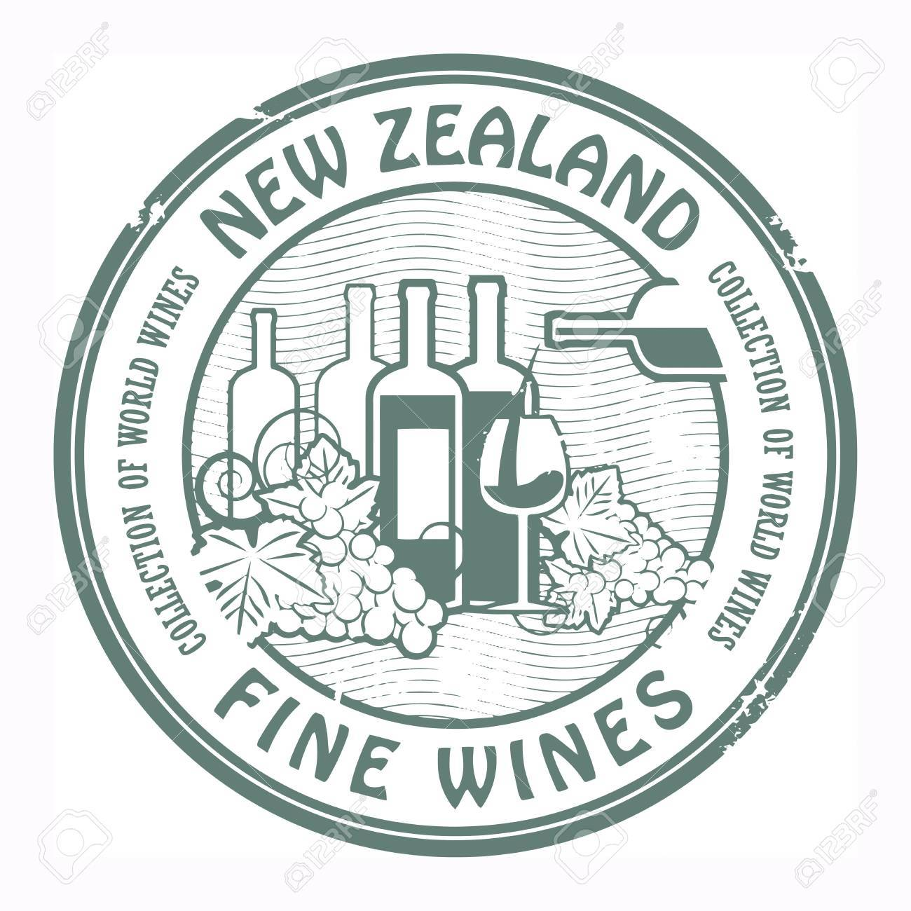 Grunge rubber stamp with words New Zealand, Fine Wines Stock Vector - 18455160