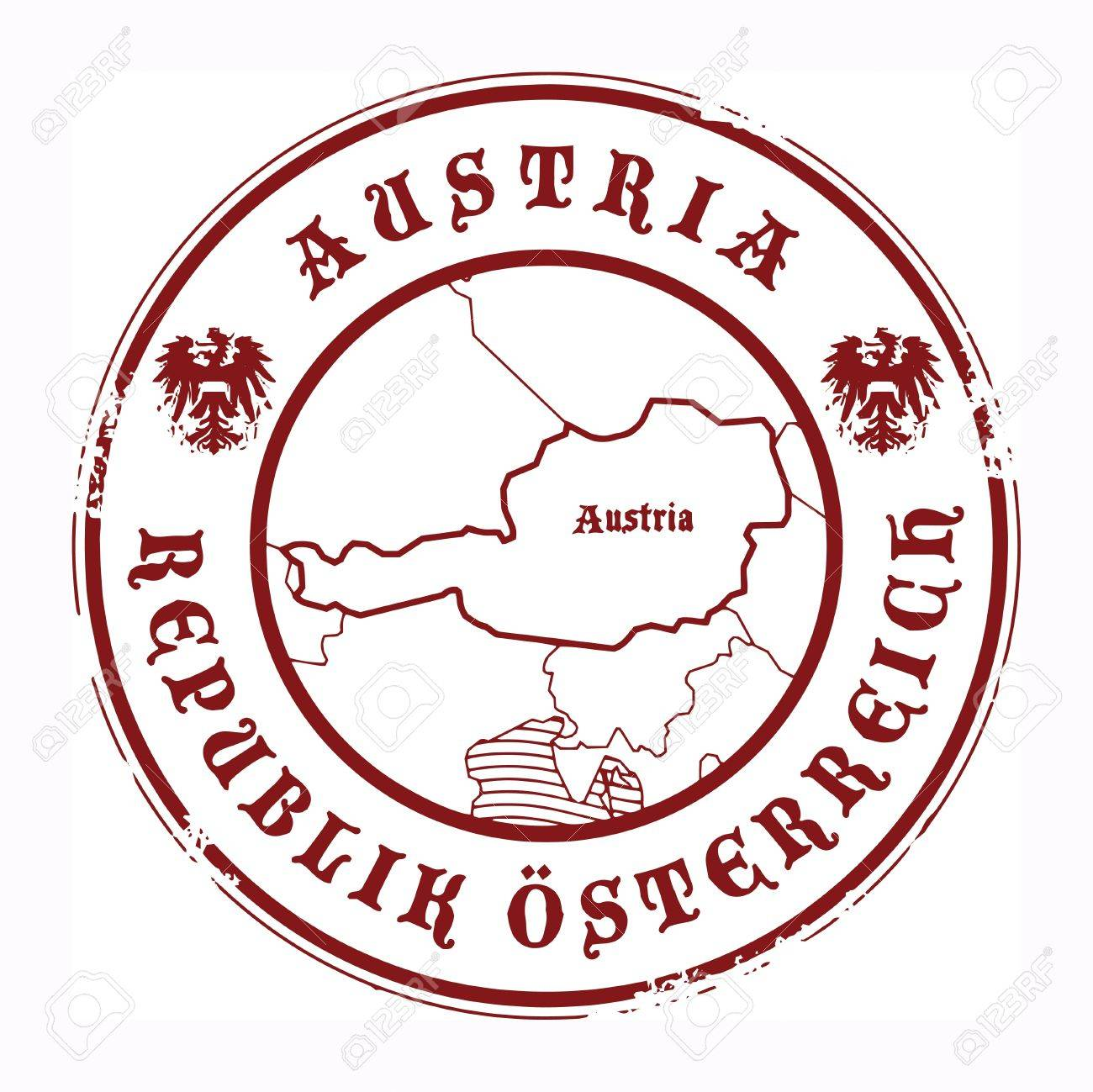 Grunge Rubber Stamp With The Name And Map Of Austria Stock Vector