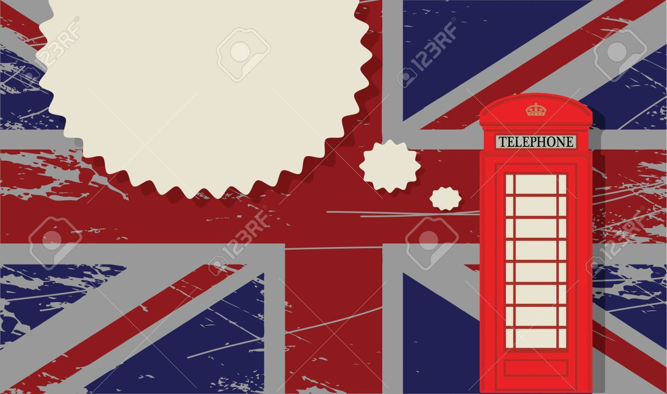 Phone booth on UK flag Stock Vector - 18784349