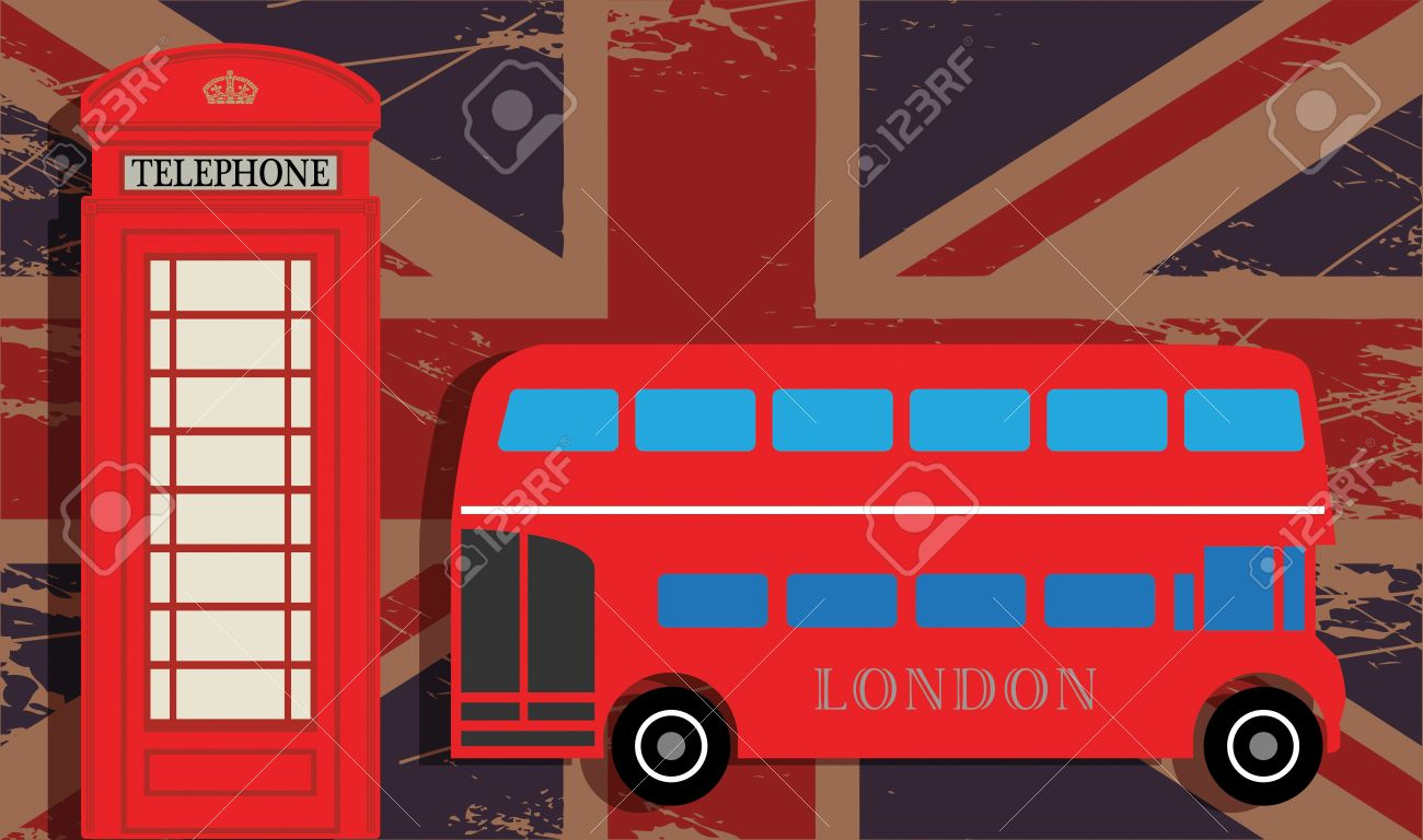 Phone booth and red bus on UK flag Stock Vector - 18784347
