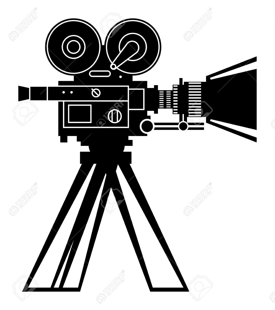 Retro Professional Cinema Film Camera Royalty Free Cliparts ...