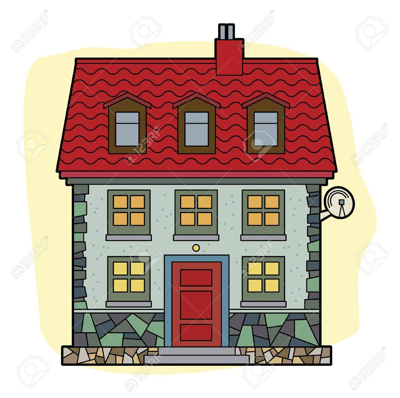 House with red roof Stock Vector - 20172064