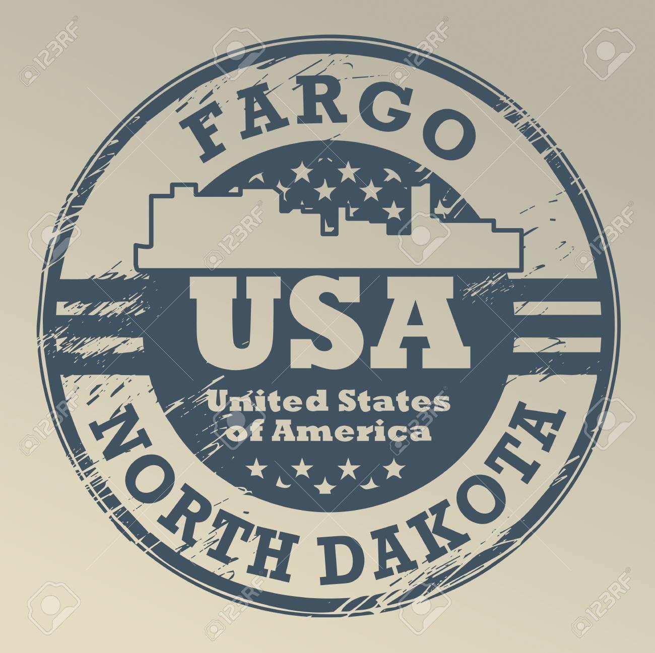Grunge Rubber Stamp With Name Of North Dakota Fargo Stock Vector