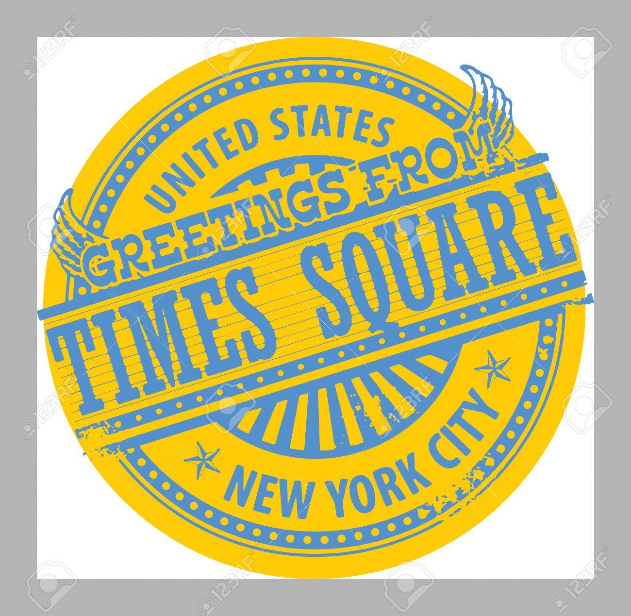 Grunge Rubber Stamp With Text Greetings From Times Square, New ...